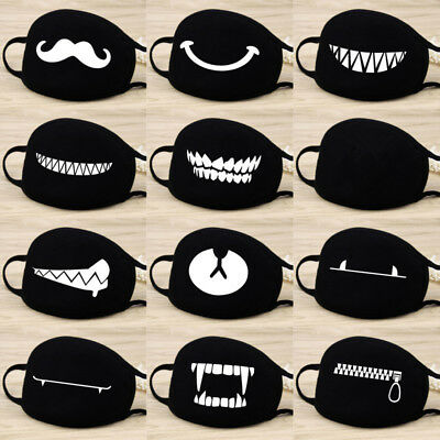 Black Anti-dust Half Face Masks Cycling Ski Warm Mouth-muffle Cute Scary Masks