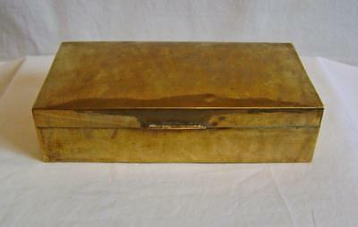 Vintage Brass Box with slightly domed lid : wood lined for cigarettes etc.