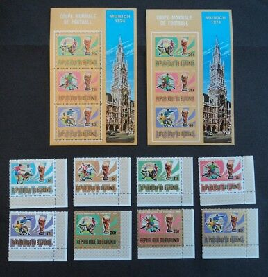 Set of stamps & sheets Burundi  Munich 1974 Coupe Mondiale de Football Imperf