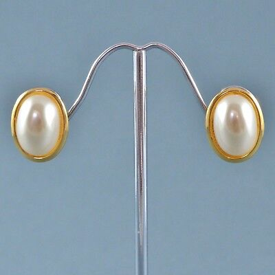 Vintage Earrings NAPIER 1980s Classic Oval Faux Pearl Goldtone Bridal Jewellery