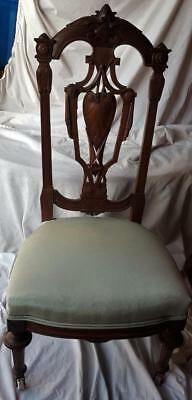 Gorgeous Antique Victorian Parlor Chair - Moire Upholstery - EXQUISITE CARVING