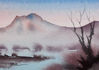 ACEO Original Art Watercolour Painting by Bill Lupton  - Mist above Water