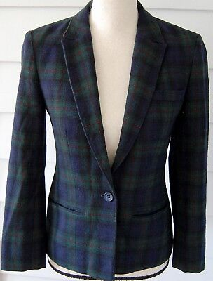 Vintage PENDLETON Black Watch Plaid Blazer Womens XS 100% Wool 60s 70s Jacket