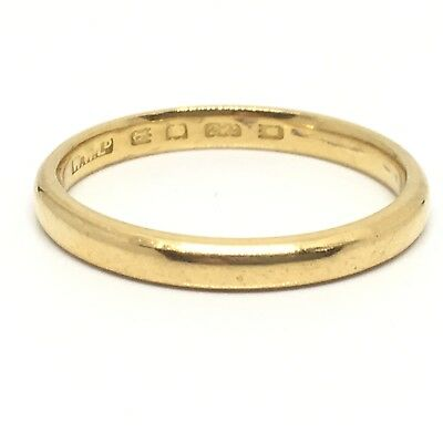 Antique Vintage Yellow Gold Slim Wedding Ring 22ct 1931 Band Size O 2.5mm