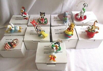 Lot of 10 DISNEY GROLIER CHRISTMAS ORNAMENTS Scrooge Daisy Chip Dumbo Figaro