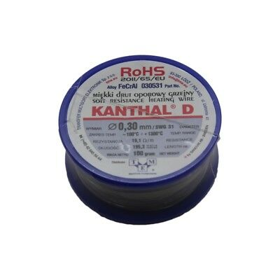 KANTHAL-D-0.40/100 wire resistance wire -100÷1300°C Package0,1kg 030443