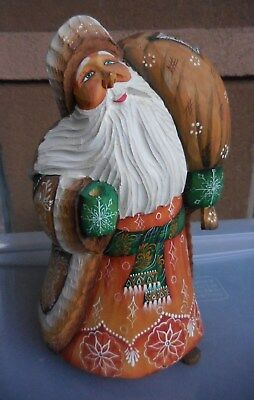 Signed Russian Hand Carved Wood Father Frost Santa
