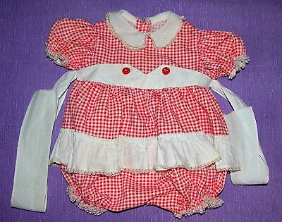 """Original Red Checkered Dress for the 23"""" 1950's Ideal Kissy Doll"""