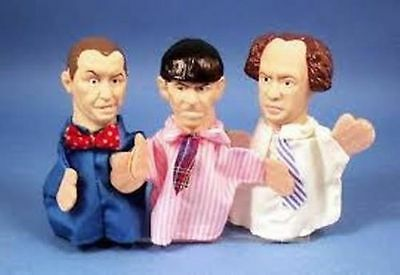 3 STOOGES Finger Puppet Figures MOE LARRY CURLY 1991 PRESENTS MIP