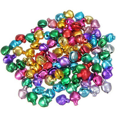 100XColorful Small Jingle Bell Findings Mixed Color 6mm/8mm/10mm Sew On Craft MW