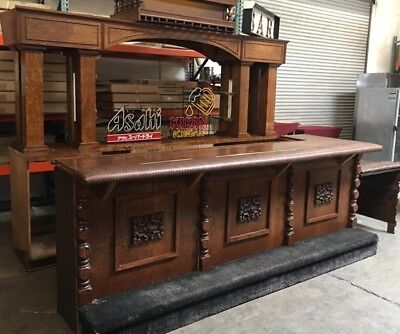 Solid Wood Bar with Glass Rack Vintage Mill Works #7223 Commercial Restaurant