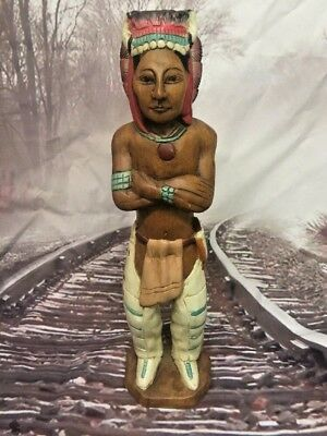 "20"" Tall Wooden Wood Handcrafted Indian Chief Statue Figure Figurine"