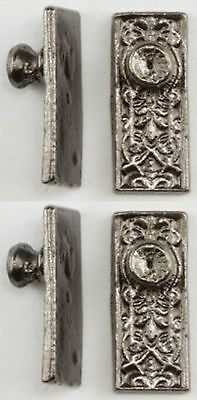 Dollhouse Miniature 1:12 Ornate Door Knobs in Pewter Finish