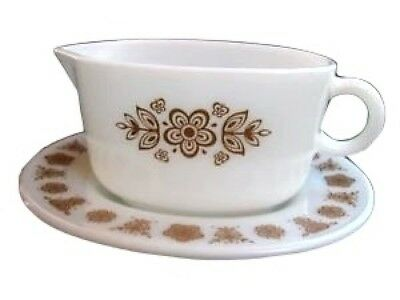 Pyrex Butterfly Gold Gravy Boat & Underplate