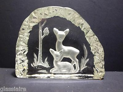 """Vintage Crystal DEER FAWN Paperweight 6.5"""" ICEBERG Sculpture 3.5 POUNDS"""