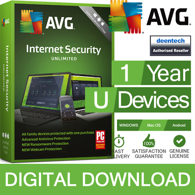 AVG Internet Security 2019 (Unlimited Devices/1 Year) Antivirus Genuine Licence