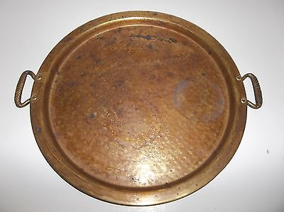 """Antique Turkish Arabic Middle Eastern Brass TRAY 15.25"""""""