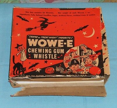 vintage Halloween WOWEE CHEWING GUM WHISTLE original box ONLY Glenn Confections
