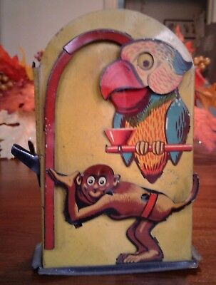 Antique  tin monkey and parrot money bank - made in Germany- very nice colors