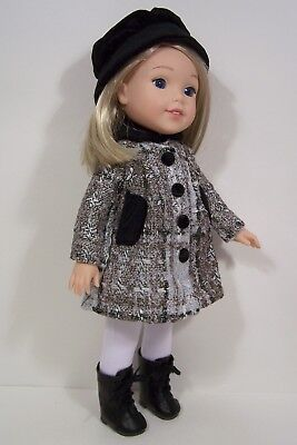 HAT Tweed COAT White LEGGINGS Doll Clothes For AG 14 Wellie Wisher Wishers (Debs