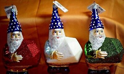 RARE VINTAGE Slavic Treasures SANTA'S ELVES WITH GEMS  Ornament SET OF 3 LOT
