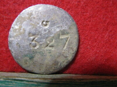 Dug Revolutionary War Silver Gilded  20Mm Counterstamped 327 G Military Button?