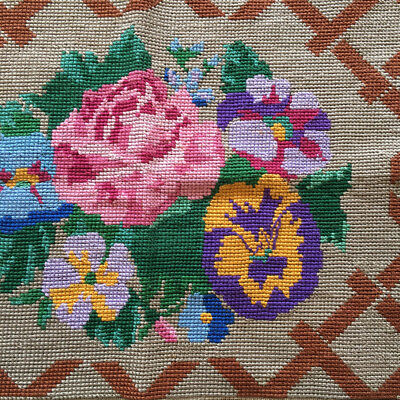 Vintage needlepoint cross stitch flowers tapestry panel completed finished semco