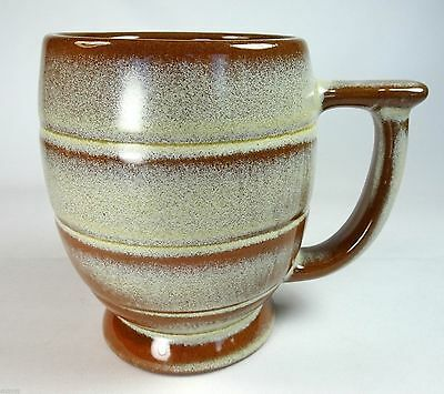 Frankoma Pottery Coffee Mug Desert Gold C7 Banded Barrel Body Flat Top Handle