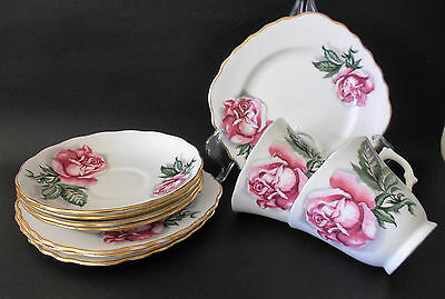 Set Of 2 X Colclough Trios Plus Extras Pink Rose Design Bone China England