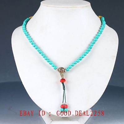 100% Natural Turquoise & Brass Handwork Carved Decoration Necklaces XL084