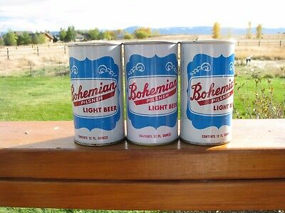 Set of 3 Early BOHEMIAN Pilsner Maier Brewing L.A. Pull Tab Beer Can