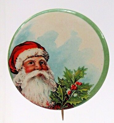 "c. 1910 SANTA CLAUS w/holly green border rare LARGE 2"" size pinback button +"
