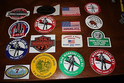 Ironworker Hard Hat stickers from New York, New Jersey, Penn. and Boston.