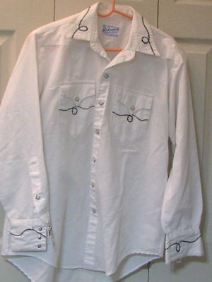 868 Men's Rockmount Ranch Wear White with Rope Embroidery Western Shirt, 15.5-33