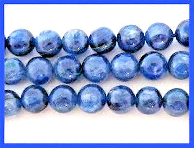 6mm - 6.5mm Medium to Dark Blue Kyanite Smooth Round Beads (10) TEN BEADS