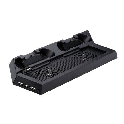 DC 5V PS4 Cooling Fan Station Vertical Stand with 2 Controller Charging Dock