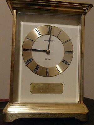 Vintage Mantel Clock -Howard Miller - Brass & Glass Dual Chime Award Clock-Works