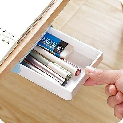 Self Stick Pencil Tray Under Desk Holder Pop Up Pen
