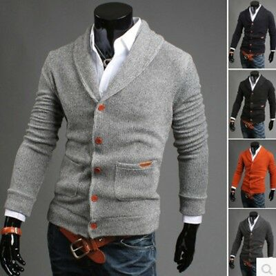 Mens Boy Slim Fit V-neck Knitwear Pullover Cardigan Sweater Jacket Coat Tops New