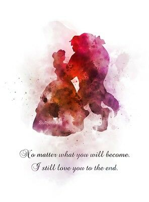 Art Print Beauty And The Beast Quote Princess Disney Gift Love