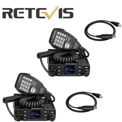 2PCS  Retevis RT95 Dual Band 200CH 25W TFT LCD Display Mobile Car Radio+2*Cable