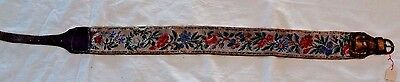 "Antique vintage micro beaded France French belt floral leather cotton 29.5"" x 2"""