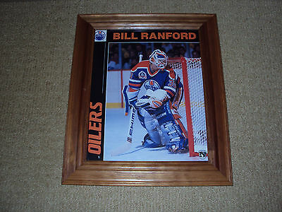 Bill Ranford, Edmonton Oilers Hockey Goalie, 8 X 11 Photo With Wood Frame