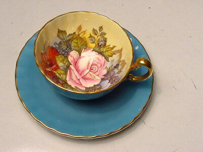 Turquoise Aynsley Signed J.a.bailey Cabbage Rose-Poppy Gold Cup Saucer