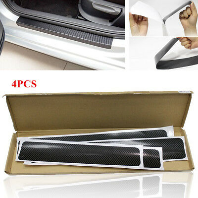 4 Pcs Car Door Pedal Threshold Carbon Fiber Look Protector Sticker Anti Scratch