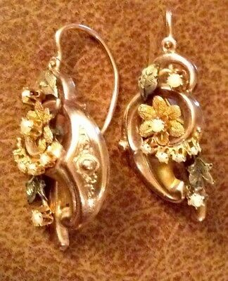 Antique Victorian 14K Earrings Front Closure