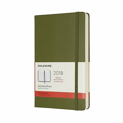 MOLESKINE 2018 Agenda 12 MONTHS DAILY Hard Cover GREEN Large 13,5x21