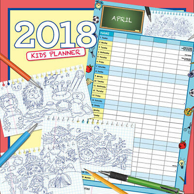 Kid's Planner 2018 Square Wall Calendar by Paper Pocket Free Postage