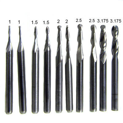 10pcs 1/1.5/2.0/2.5/ 3.175mm Carbide Ball Nose End Mill CNC Engraving Router bit