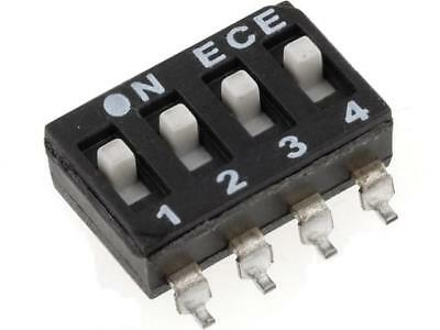 2x ESD104E Switch DIP-SWITCH Poles number4 ON-OFF 0.1A/50VDC -25÷70°C DM-04-V
